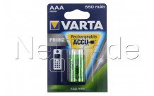 Varta - Accu rechargeable telephone - aaa / hr03  550mah bls 2 t397 (aa - 58397101402