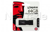 Kingston datatraveler 100 generation 3 - 64gb usb3.1 flash drive black - DT100G364GB